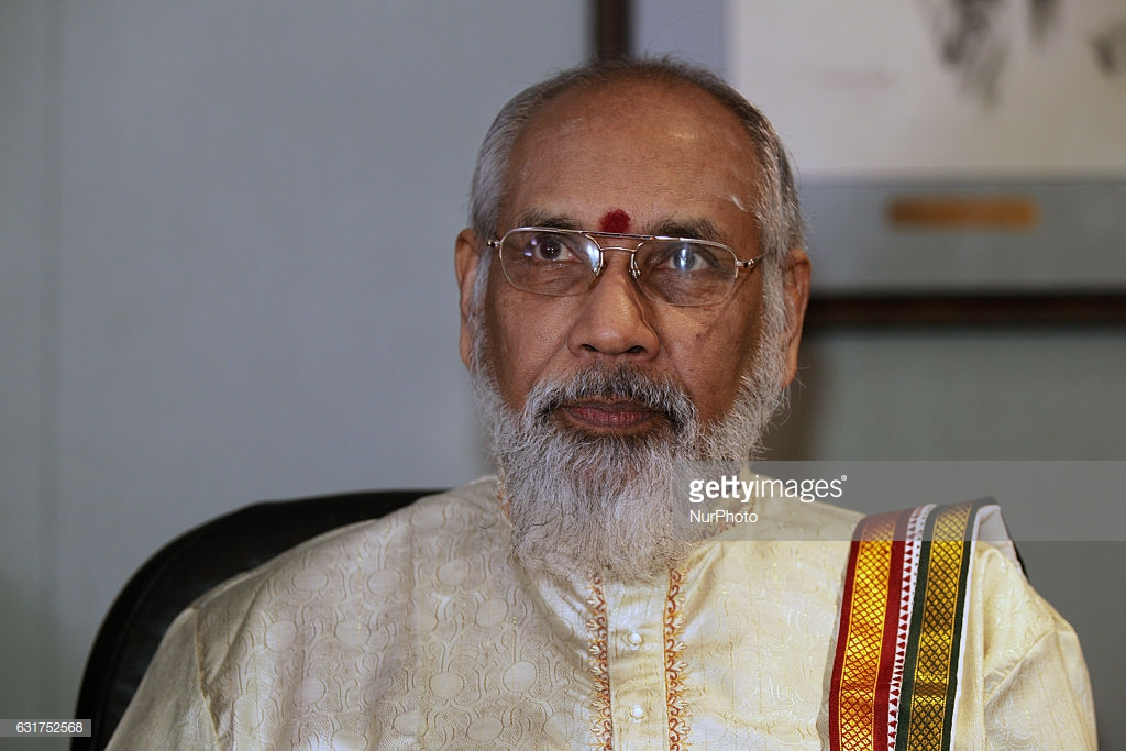 C.V. Wigneswaran, Chief Minister of the Northern Provincial Council in Sri Lanka, addresses members of the media at a press conference in Markham, Ontario, Canada, on January 14, 2017. During his trip to formalize a friendship agreement between the City of Markham and district of Mullaitivu, Northern Province in Sri Lanka Chief Minister C.V. Wigneswaran spoke about the importance of issues of transitional justice and post-war development to diaspora Tamils in Canada. (Photo by Creative Touch Imaging Ltd./NurPhoto via Getty Images)