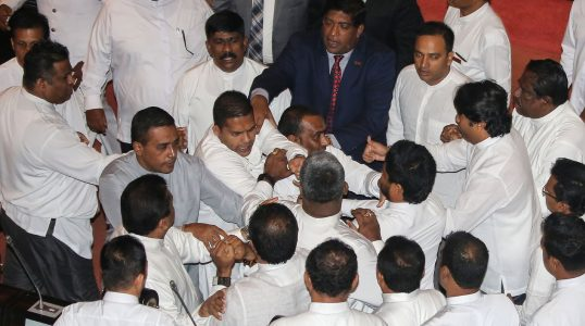 sri lanka parliament fight