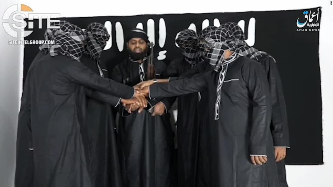 On Tuesday, a video released by ISIS showed 8 men purported to be the Sri Lankan attackers pledging allegiance to the terror group. All of the men have their hands placed together and are masked, except one. That man, identified as Zahran Hashim, is ???leading them,??? reads the caption by ISIS??? Amaq news agency. Approved for use Rich Phillips on the row and Jim Crane in Standards